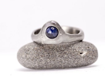 """Sapphire ring, jewelry, wedding, engagement gem ring, womens ring, gift for her - Hand forged Stainless Damascus steel ring """"Wave"""""""
