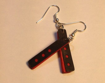 Black and Red Wood Earrings with Cut-Outs/ Women's Gift