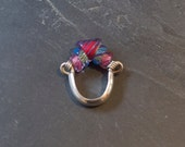 Silver and Glass Ring, Venetian Glass Beads, Pink and Blue