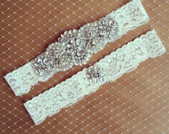 Rhinestone Lace Garter + Toss - Lingerie Shower - Bridal Shower - Wedding Garter - BEST SELLER