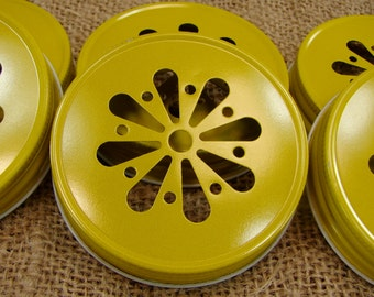 Yellow Daisy Cut Mason Jar Lids - 12 Lids Only....DLY-12