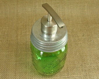 Soap Pump - Green Heritage Mason Jar and Hand Made Brushed Stainless Steel Mason Jar Pump with Vintage Style  LId For Soap or Lotion