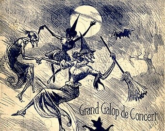 RARE The WITCHES Dance.  Digital HALLOWEEN Download. Vintage Witch Illustration. Vintage Witch/Halloween Sheet Music Digital Download.