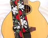 Skull and Roses Guitar Strap