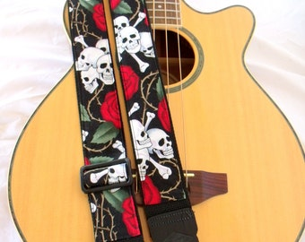 Skull and Roses Guitar Strap