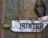 Baseball Binky Holder, Personalized Pacifier Clip,Navy, Sports