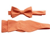 Father Son Bow Tie Sets - Orange Tiny Gingham