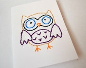 greeting card, hand embroidered owl