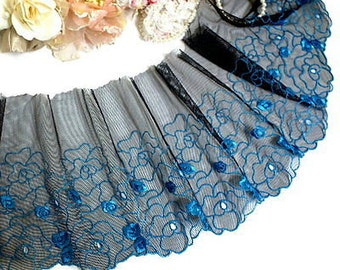"""DN569- 8"""" Black Embroidered Tulle Blue flower Mesh Lace Trim by Yard"""