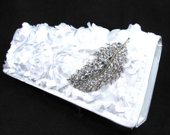 White Rosette  Rhinestone Bridal Clutch, Wedding Purse