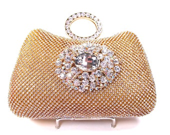 Gold Rhinestone Crystal Bridal Clutch, Wedding Purse, Evening Clutch