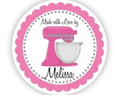 Kitchen Stickers - Cute Hot Pink, Grey, Kitchenaid Mixer, Food Cooking Personalized Baking Made By Label Stickers - Round Kitchen Labels