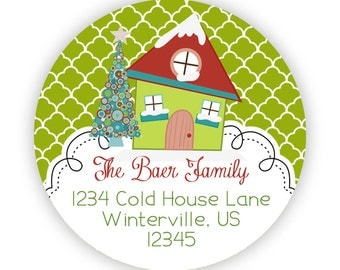 Christmas Address Labels - Lime Green Quatrefoil, Silly Winter Snow House Personalized Address Label Stickers - 20 Holiday Address Stickers