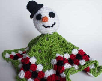 Crocheted Snowman Blanket - Green Red Lovey Security Blanket, Cute Winter Snowman Toy - Perfect for Babies and Toddlers - Stocking Stuffer