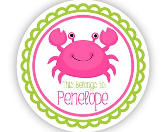 Personalized Name Tag Stickers - Pink and Lime Green, Ocean Sea Creature Crab Name Tag Stickers - Round Tags - Back to School Name Labels
