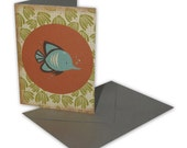 Handmade seaside fish gift card in orange, brown, green and blue