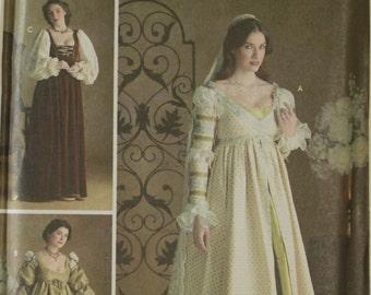 "Gowns, Sleeves, Cap & Veil Renaissance Costume Collection Simplicity Pattern 3812 Uncut Sizes 10-12-14 Bust 32.5-34-36"""