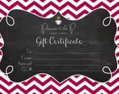 Gift Certificate, Gift card, choose your amount, Christmas, Holiday, Baby Shower, Baby Gift