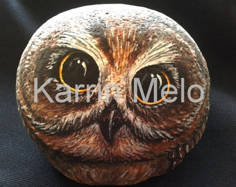 Painted rock / Painted Stone / Owl/ Garden Art / Yard decor / Home decor / Book end /Desk ornament / Gift ideas on Etsy