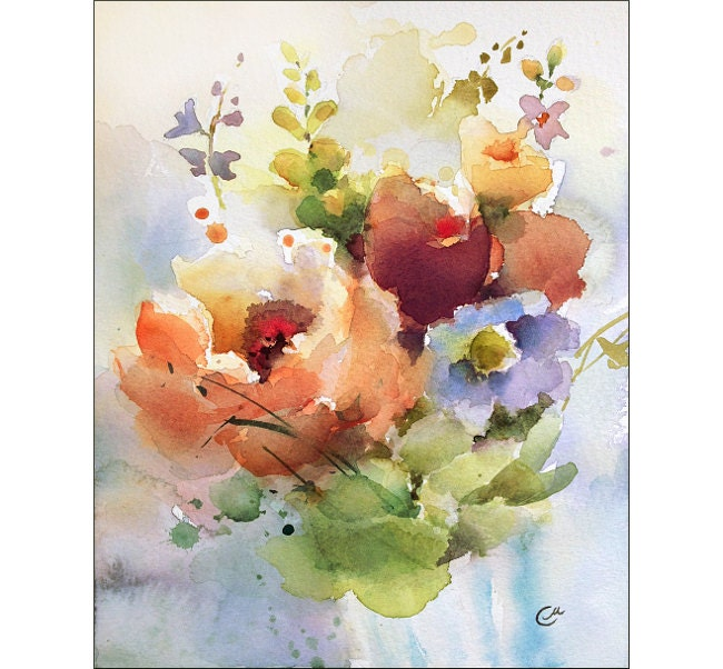 Flowers Watercolor Original Painting 8x10 Inches