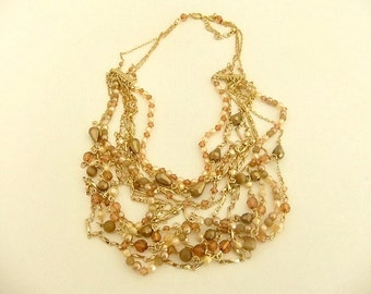 Bead Necklace Gold Tone Multi Strand