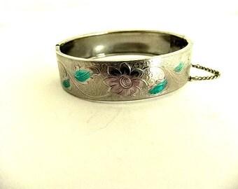 Bangle Hinge Bracelet Silver Tone Color Wash