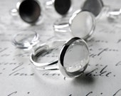 30 silver plated rings with glass cabs- wholesale supplies