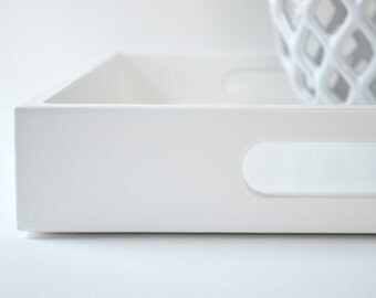 White Lacquer 14 x 18 Serving Tray, Coffee Table Tray, White Home Decor, Ottoman Tray