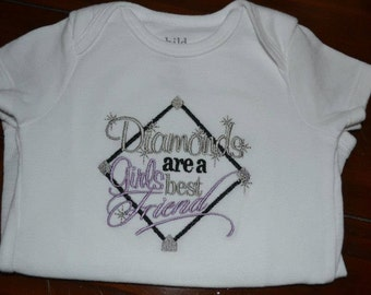 Diamonds are a Girl's Best Friend Baseball Bodysuit or Shirt