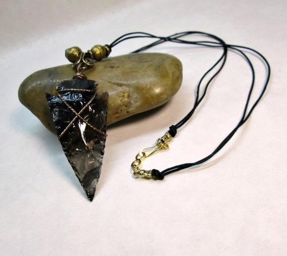 Obsidian Arrowhead Pendant Necklace Dragonglass by ...