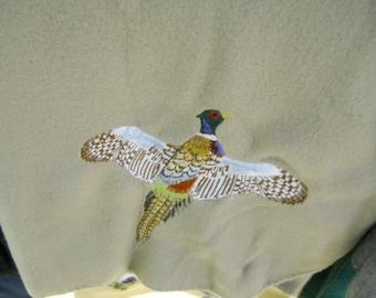 Pheasant Embroidered Fleece Throw