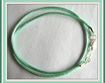 25 to 40 inch Mint Green Necklace Cord,  Green Satin Necklace Cord, Gold, Silver, Antique Brass Lobster Claw, Satin 2mm Necklace Cord Custom