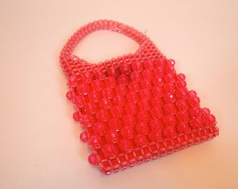 Vintage 60s hot Pink sparkly beaded handbag with beaded strap by Barbara Lee made in Italy