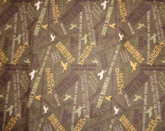 Brown Phrases Duck Dynasty Cotton Fabric by the Yard