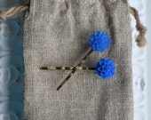 Toddler girl/ girls/ womens cabochon hair clip/ barrette/ bobby pins- blue Cabochon flowers- one pair