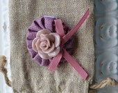 Baby Girl/ Toddler girl hair clip/ barrette/ hair bow/ alligator clip- Purple and pink cabochon flower
