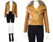 Reserved**Vtg 70s Tan Leather Faux Fur Cropped Cafe Racer Coat Jacket S
