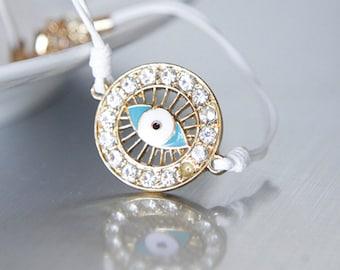 Evil Eye Bracelet, Clear Rhinestone Bangle, White Cord, Modern Bridal Friendship Valentines Bithday Gifts OOAK Gifts by Giftin For Fifteen