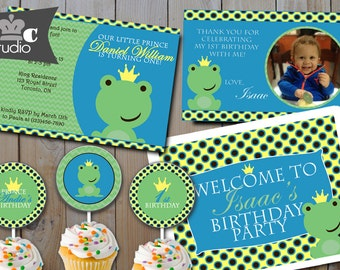 Frog Prince Boy's Birthday Party Package - Digital Printable Invitation, Banner, Cupcake Toppers, Candy Wrappers, Bottle Labels, Favour Tags