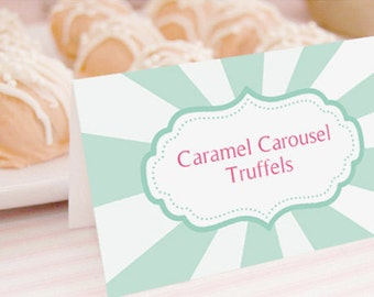Carousel Party - Tent Cards, Food Labels, Buffet Cards, Food Tags, Labels  - Instantly Downloadable File