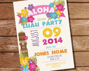 Luau Party Invitation - Hawaiian Party Invitation - Instant Download Editable File - Personalize at home with Adobe Reader