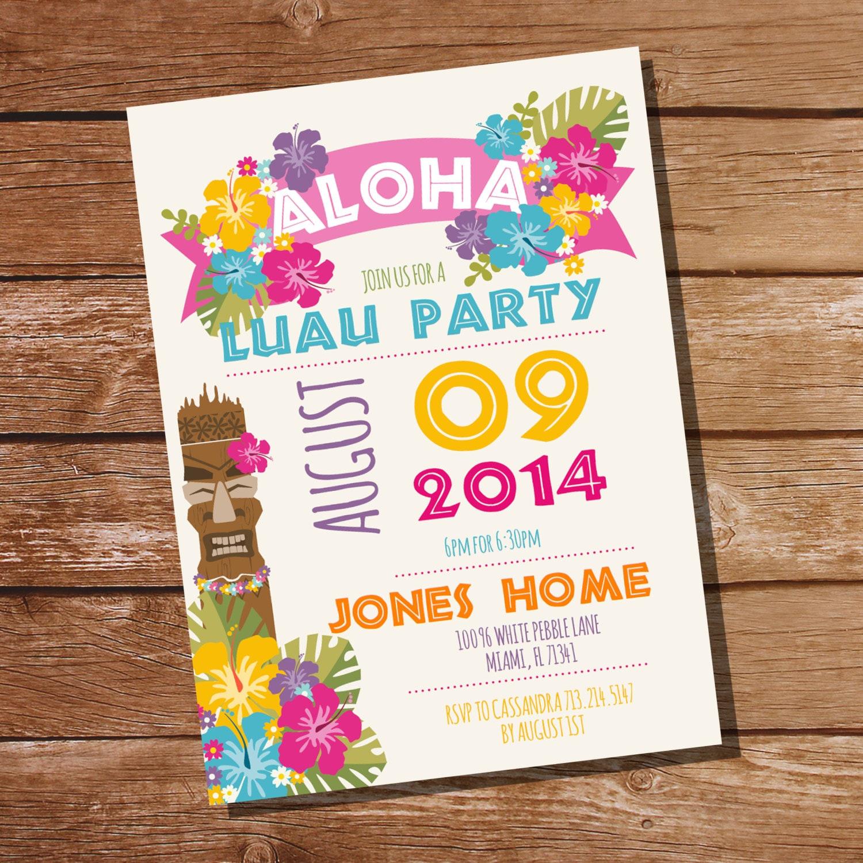 Luau Party Invitation Hawaiian Party Invitation Instant