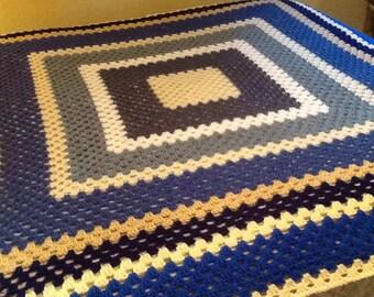 Large Modern Granny Square Blanket