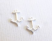 Sterling Silver Tiny Anchor Charms -- 2 Pieces -- Mini Sterling Nautical Connectors