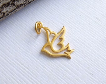 Small Gold Plated Sterling Silver Dove Charm -- 1 Piece... Bird Pendant
