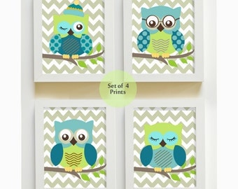 Owl Nursery Art Prints- Baby Boy Room Decor - Set of 4 Prints - owls -  Match with Green Aqua Teal Owl Bedding
