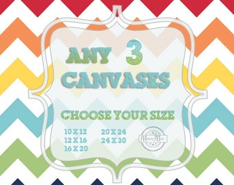 Choose Any Three Art Print on Stretched CANVAS