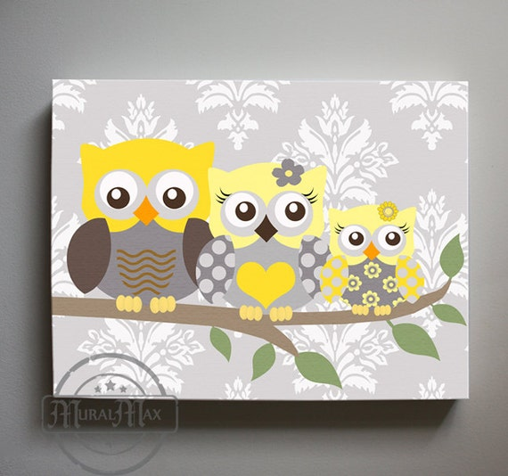 Yellow and gray owl nursery decor girls wall art owl canvas - Girl owl decor ...