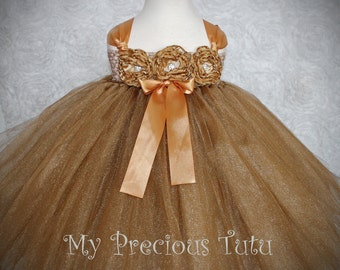 Gold Shimmer Dress & Headband by My Precious Tutu