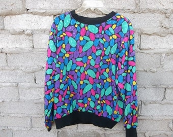 Vintage Top Blouse Womens sz Large Neon Pebbles Geometric Funky Hipster Bright Colors Shiny